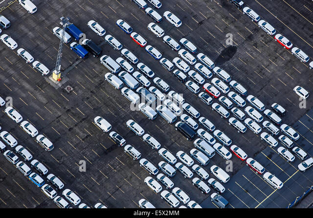 Bremerhaven Car Terminal half-full, Bremen, Germany - Stock Image
