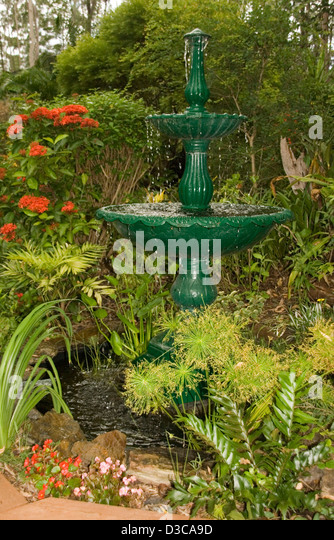 Multi Tiered Backyard : Garden Water Features Stock Photos & Garden Water Features Stock