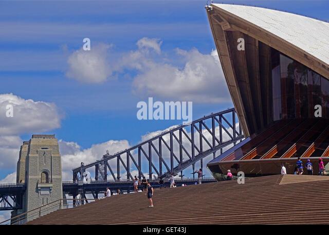 Tourists on Bridge Climb on Sydney Harbour Bridge and at Opera House. - Stock Image