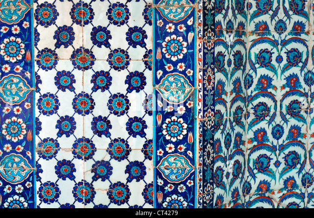 Turkey, Istanbul, Rustem Pasha Mosque, Decorative Tiles - Stock Image