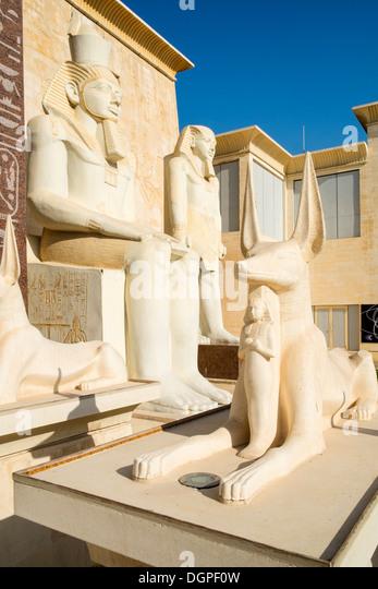 Egyptian themed architecture at Wafi Mall in Dubai United Arab Emirates - Stock Image