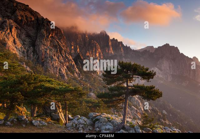 the Col de Bavella at dawn, Corsica, France - Stock-Bilder