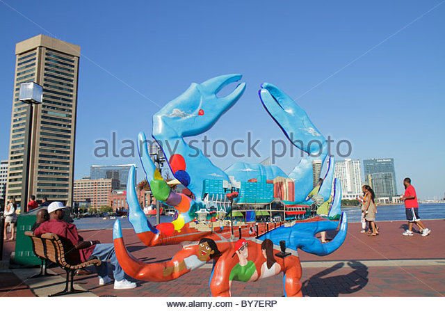 Baltimore Maryland Inner Harbor Harborplace Patapsco River waterfront festival marketplace attraction World Trade - Stock Image
