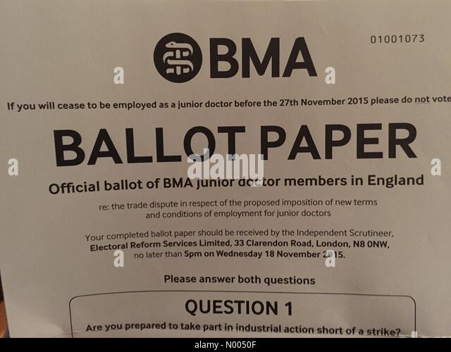 UK. 08th Nov, 2015. BMA send ballot papers out to all junior doctors regarding possible strike action Credit:  Jonny - Stock Image
