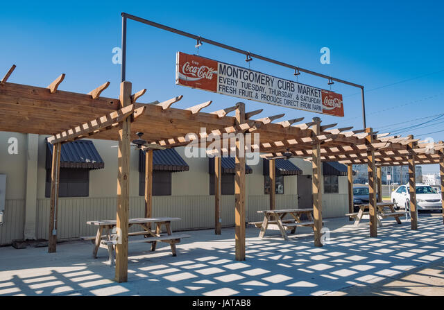 The front of the Curb Market, Montgomery, Alabama, a large indoor farmer's market. - Stock Image
