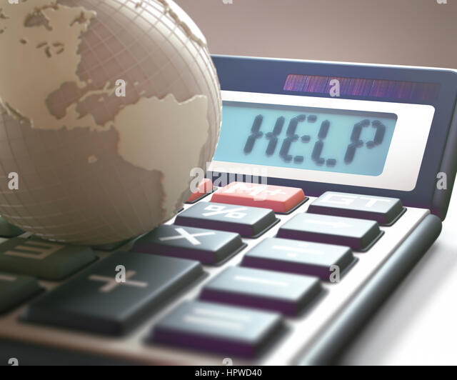 Calculator with the word help and globe, illustration. - Stock-Bilder
