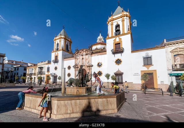 Plaza del Socorro , Ronda, Andalusia, Spain - Stock Image