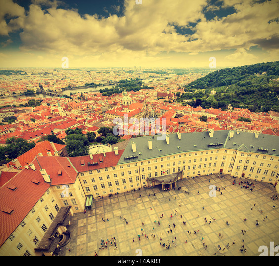 Prague Old Town, the Czech Republic, retro effect. - Stock-Bilder