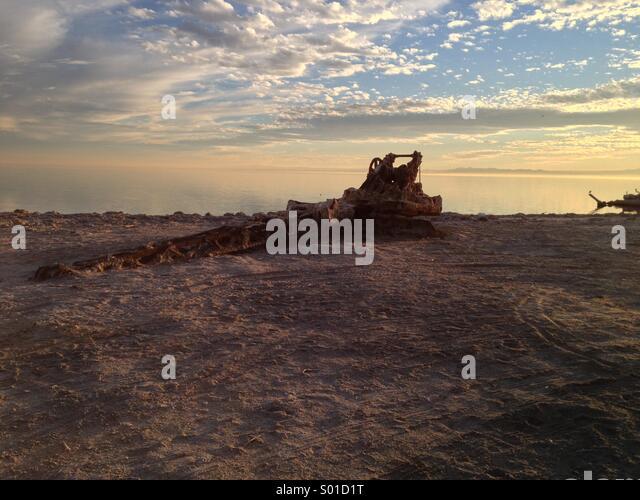 Sunset at Bombay Beach California - Stock Image