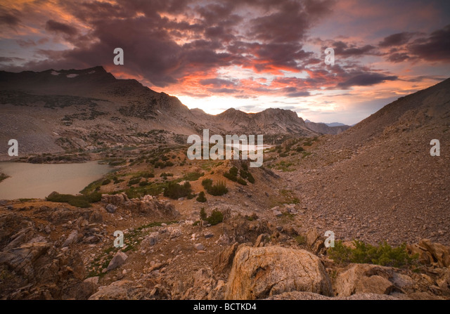 Sunrise and a Mountain Stream on Bishop Pass - Sierra Nevada, CA - Stock Image