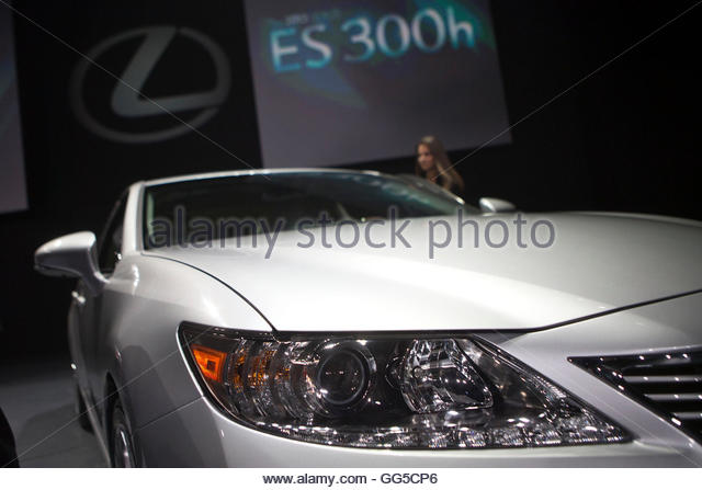 The Lexus ES300 Hybrid is seen at the car's unveiling during the 2012 New York International Auto Show at the - Stock Image