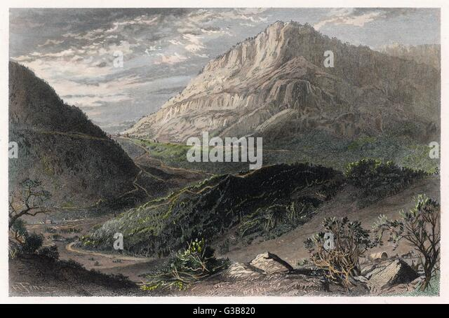 Cumberland Gap, now a  National Historical Park, Kentucky and Tennessee       Date: circa 1840 - Stock Image
