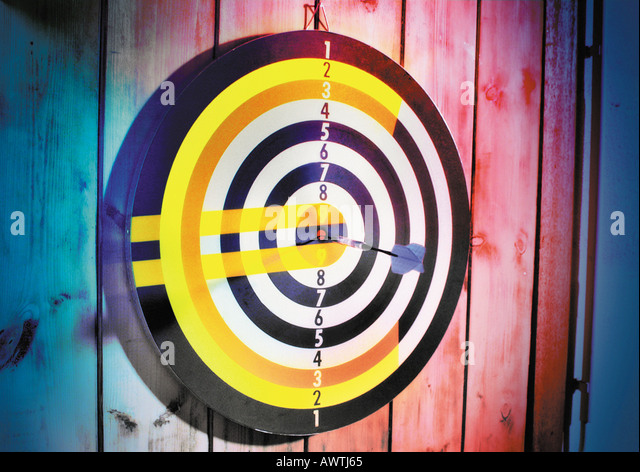 Euro sign on dart board. - Stock Image