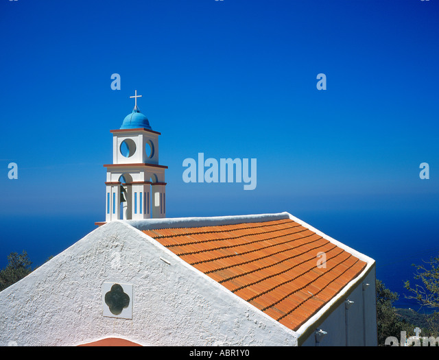 church at Keramoti West  Crete Greece Europe.  Photo by Willy Matheisl - Stock Image