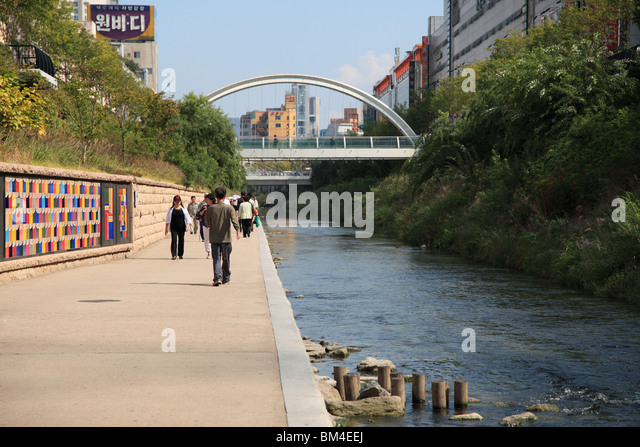 Cheonggyecheon Stream, Seoul, South Korea, Asia - Stock Image
