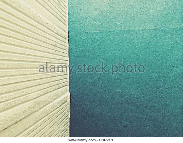 Detail Shot Of White And Blue Walls - Stock-Bilder