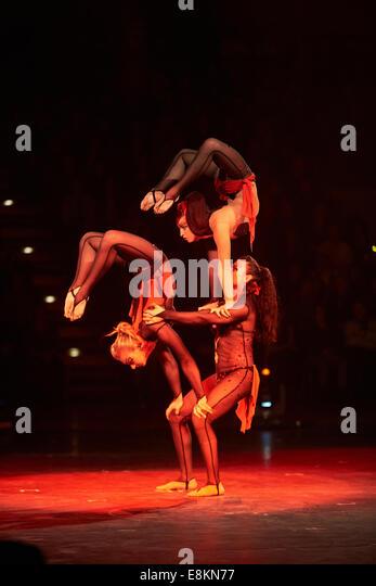 DTB gymnastics gala Gymmotion 2013, acrobatic group Trio Torime, Koblenz, Rheinland-Pfalz, Germany - Stock Image