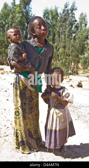 African girls with siblings, Ethiopia, Africa - Stock Image