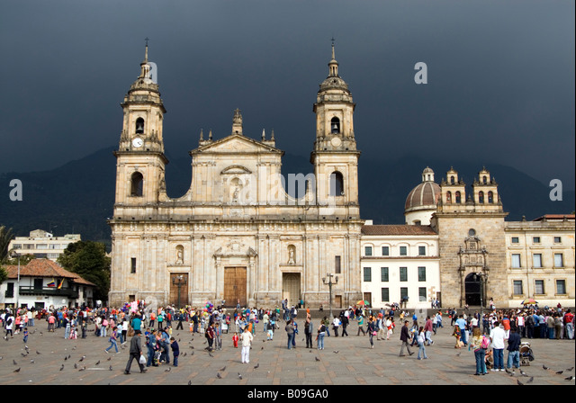 Primary Cathedral on the Plaza Bolivar de Bogota Colombia - Stock Image