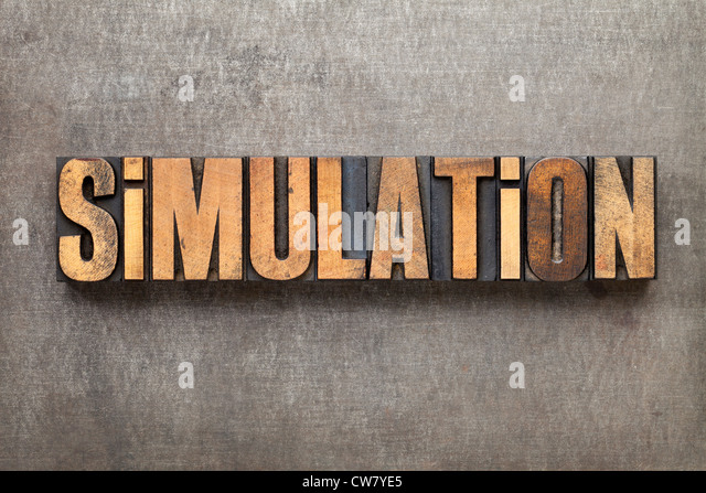 simulation - science or engineering research concept - text in vintage letterpress wood type against a grunge metal - Stock Image