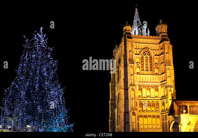 St Peter Mancroft Church and Christmas Tree outside the Forum in Norwich City Centre. - Stock Image
