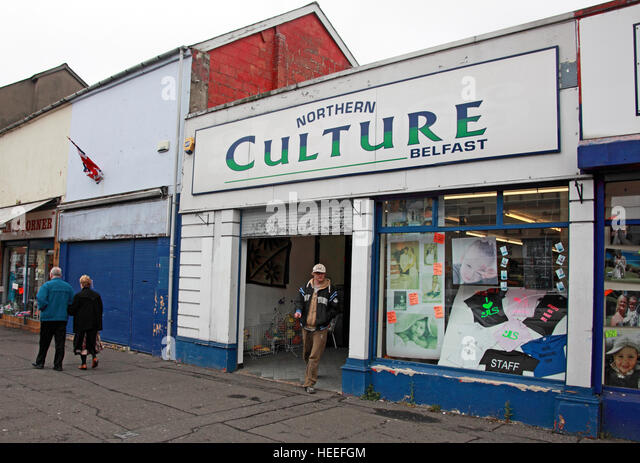 Belfast Unionist, Loyalist shop Northern Culture,Shankill Road - Stock Image