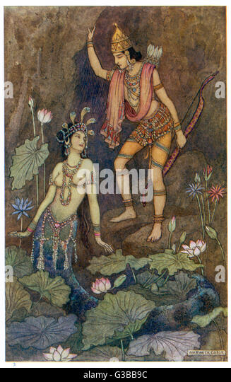 ARJUNA, one of the Pandava  brothers and a central figure  in the Mahabharata, has an  interesting encounter with - Stock Image