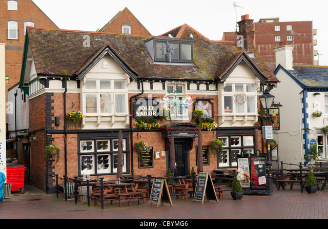 The Jolly Sailor public house on Poole's harbour front - Stock Image