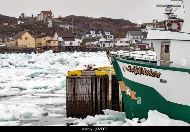 Fishing boats and sea ice in Twillingate Harbour - Twillingate, Newfoundland, Canada - Stock Image