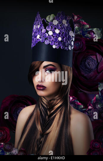 Fantasy. Fanciful Woman in Unusual Art Stylized Crown - Stock Image