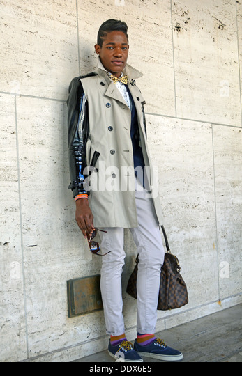 Portrait of singer songwriter Lemhaje Gang at Fashion Week at Lincoln Center in New York City - Stock Image