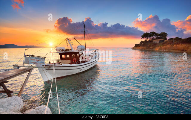 Sunrise at Laganas Bay, Zakynthos Island, Greece - Stock Image