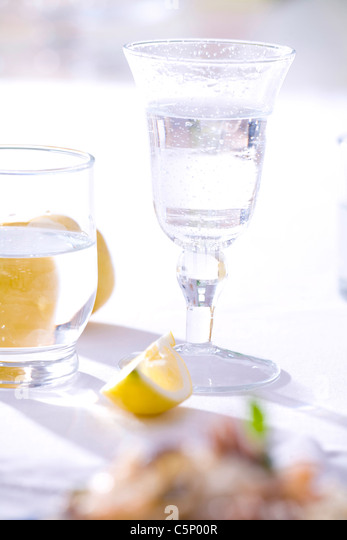 Two glasses with sparkling water - Stock Image