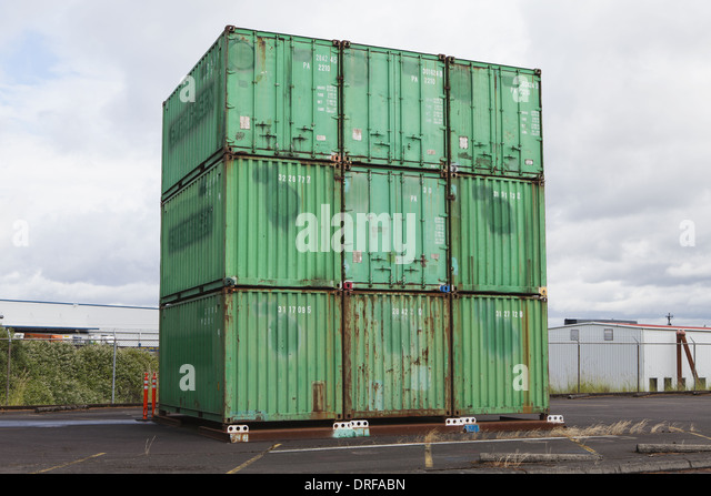 Washington state USA Stacked cargo containers - Stock Image