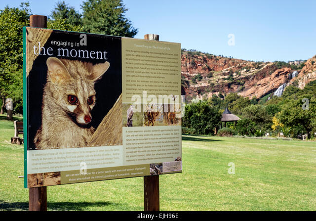South Africa African Johannesburg Roodepoort Walter Sisulu National Botanical Garden Witwatersrand sign information - Stock Image