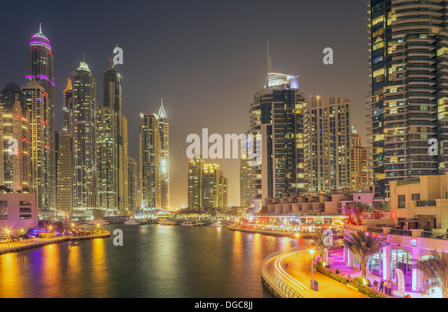 Skyscrapers in Dubai marina, Dubai, United Arab Emirates - Stock Image