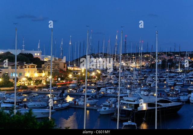 Italy Sardinia Costa Smeralda Porto Cervo Yachting Port , Marina - Stock Image