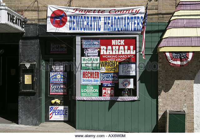 West Virginia Fayetteville Court Street Fayette County Democratic Headquarters elections democracy voting - Stock Image