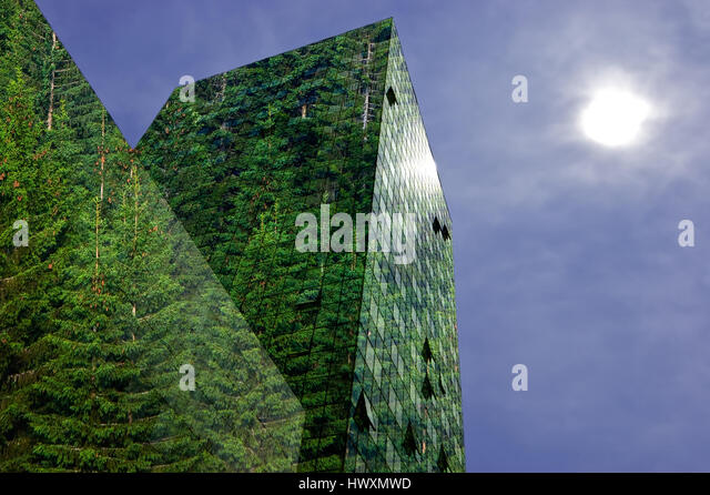Green, renewable energy in the city: modern building covered with spruce forest. Sustainable energy, pollution and - Stock-Bilder