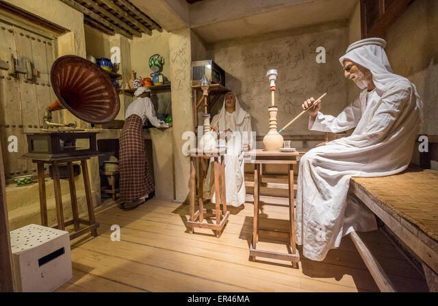 Exhibit of traditional coffee shop inside National Museum of Bahrain, Manama, Kingdom of Bahrain. - Stock Image