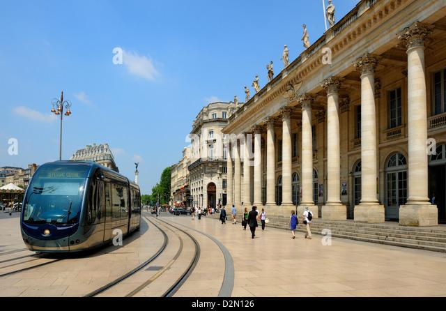 Le Grand Theatre, Place de la Comedie, Bordeaux, UNESCO World Heritage Site, Gironde, Aquitaine, France, Europe - Stock Image