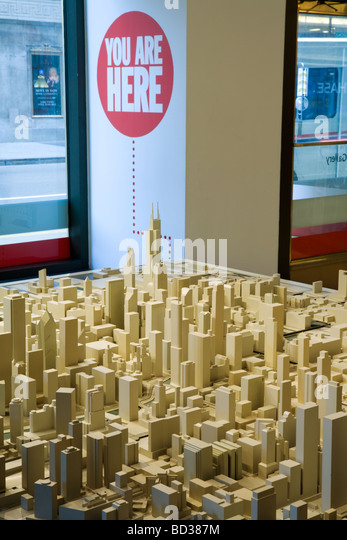 Model City at Chicago Architecture Foundation in Chicago Illinois - Stock Image