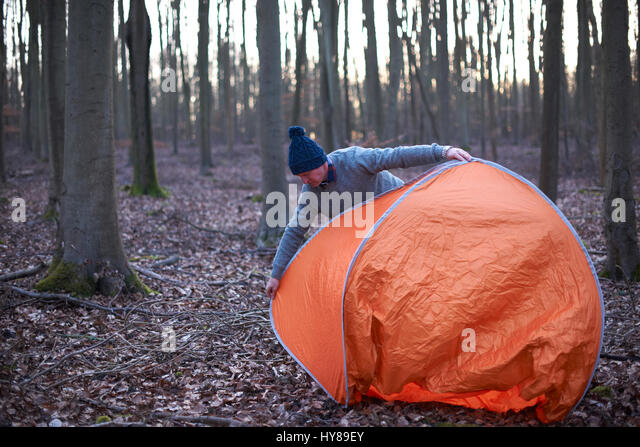 A man puts up a tent in the woods - Stock Image