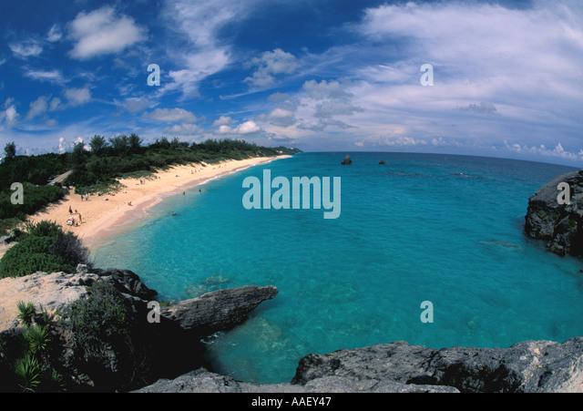 Bermuda Pink Sand Beach Waves People Sunning Swimming - Stock Image