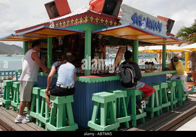 Sint Maarten Great Bay Philipsburg Dutch Sharky's Bar rum liqueur alcohol - Stock Image
