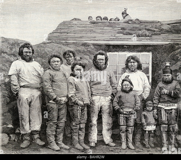 An Eskimo Family Engraved from a 19th century photograph from the book The English Illustrated Magazine 1891 1892 - Stock-Bilder