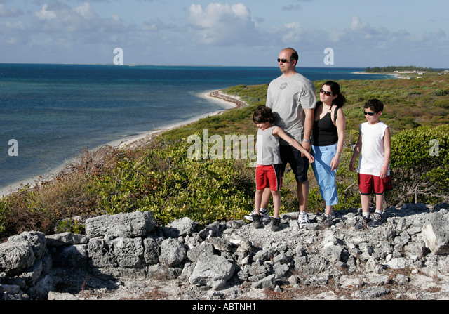 Grand Turk Atlantic Ocean Hawknest Plantation Gun Hill dune buggy excursion tour family Atlantic Ocean - Stock Image