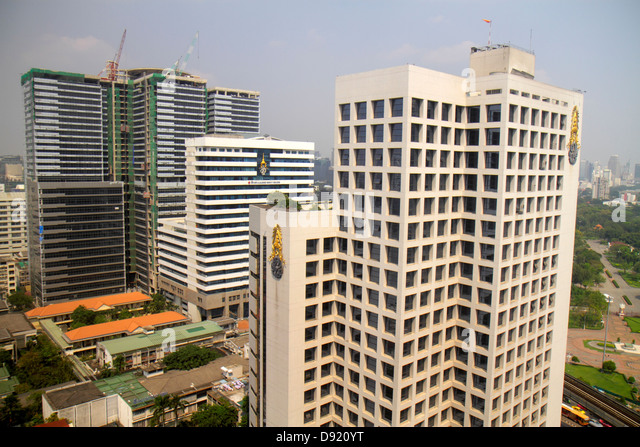 Thailand Bangkok Silom Rama IV Road aerial view city skyline buildings urban Chulalongkorn University Hospital new - Stock Image
