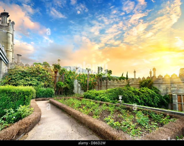 Vorontsov garden in the town of Alupka, Crimea - Stock-Bilder