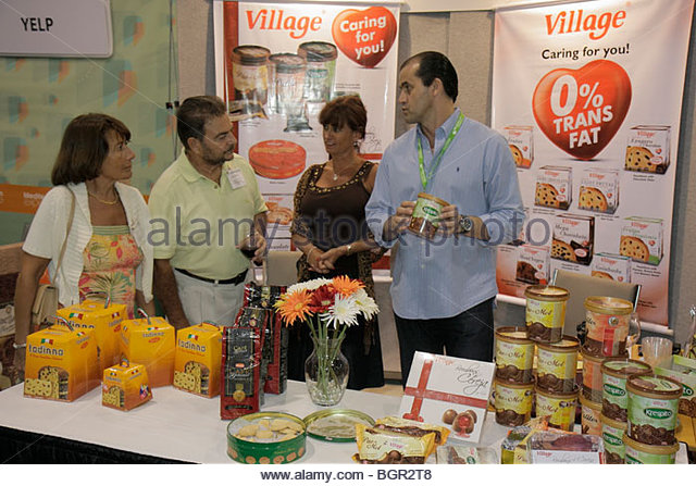Miami Beach Miami Florida Beach Convention Center centre Mediterranean Experience Trade Fair exhibitor fine food - Stock Image